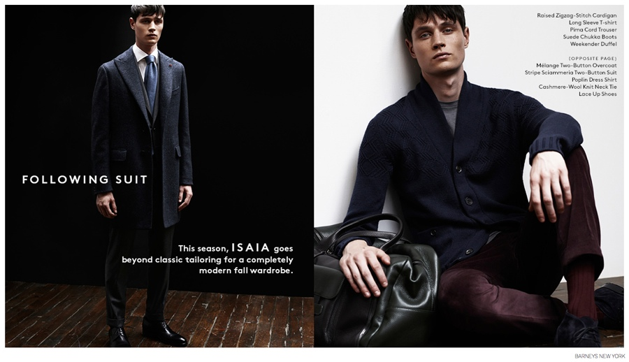 Andrew Westermann Models ISAIA Fall/Winter 2014 for Barneys New York