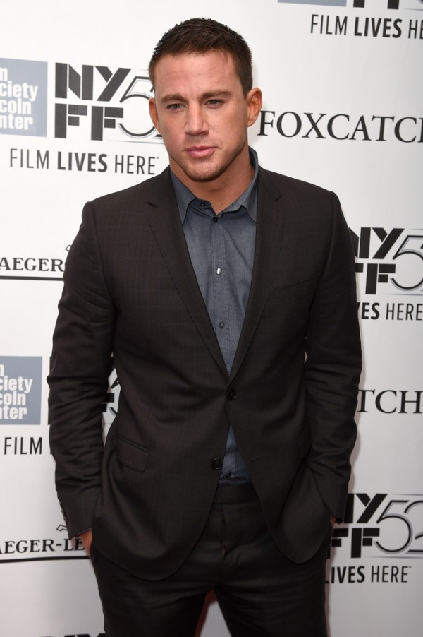 Channing Tatum stepped out on October 10, 2014 for the premiere of 'Foxcatcher' during the New York Film Festival. For the occasion, Tatum wore a tonal plaid suit, paired with a chambray dress shirt.