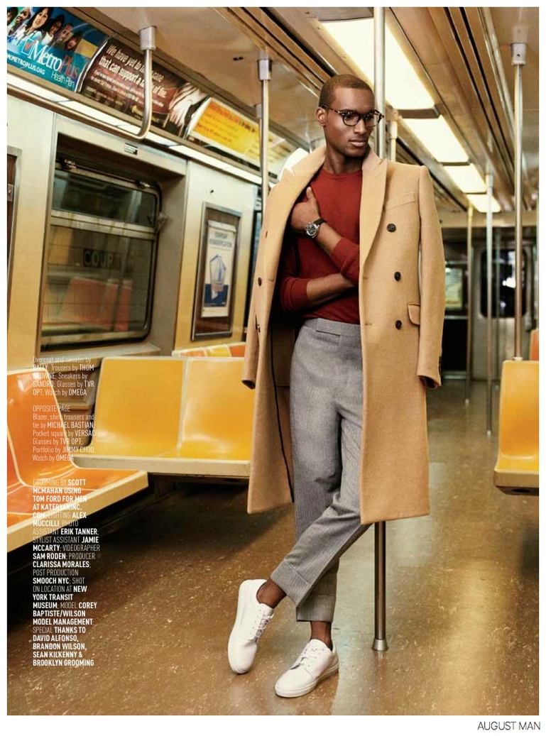 Corey Baptiste Takes the Subway in Style for August Man