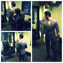 Showcasing timeless British style at its best, top model David Gandy checks in for a bespoke fitting at Thom Sweeney's Weighhouse location. With a fine suit that fits impeccably, David stands out from the crowd, whether it's in the pages of magazines, front row at a show or out and about.