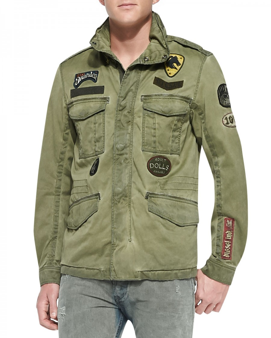 Luke Evans Steps Out In Diesel Military Jacket With Patches