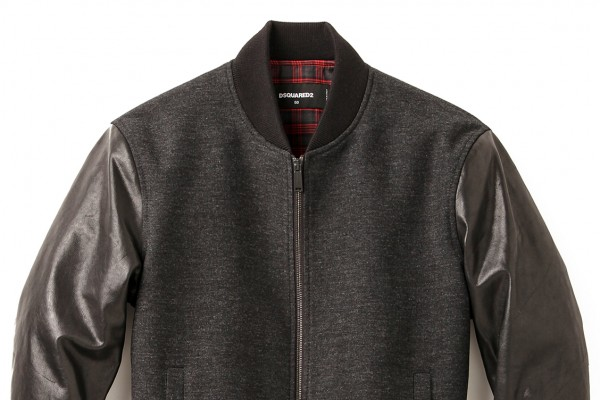 Dsquared2 Wool Bomber Jacket with Leather Sleeves