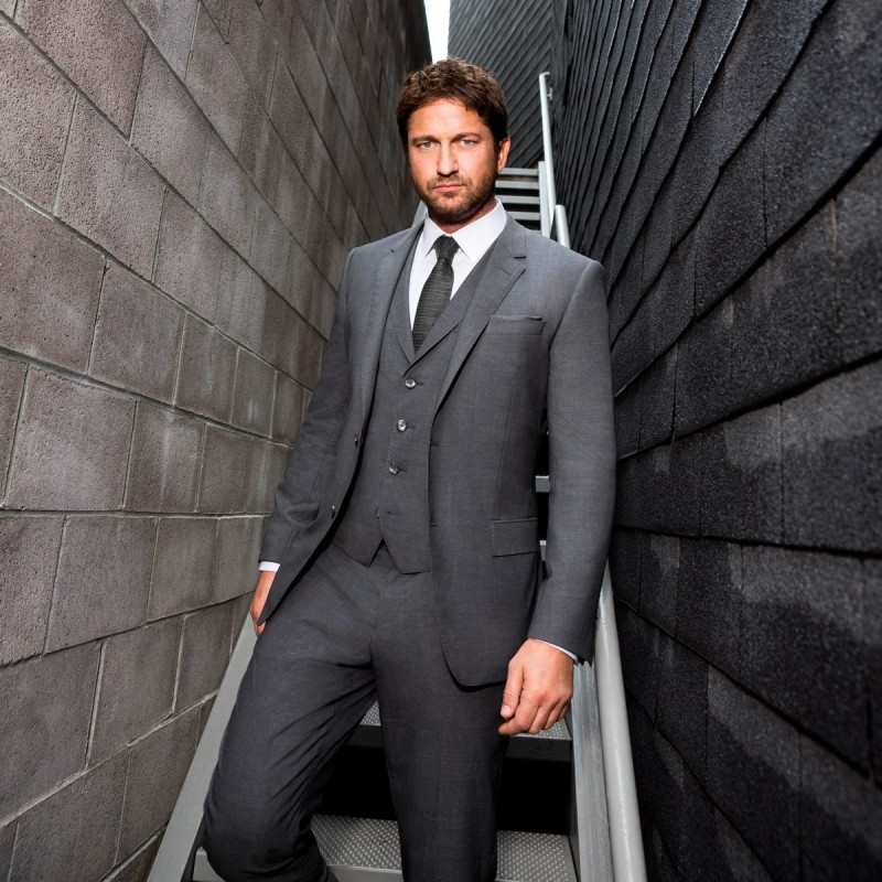 e8fe14ab Gerard Butler Wears Hugo Boss 3-Piece Suit for BOSS Bottled Promo Photos