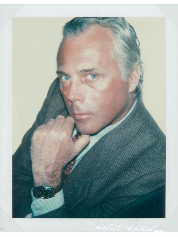 Designer Giorgio Armani is oh so GQ in this old polaroid shot by Andy Warhol.