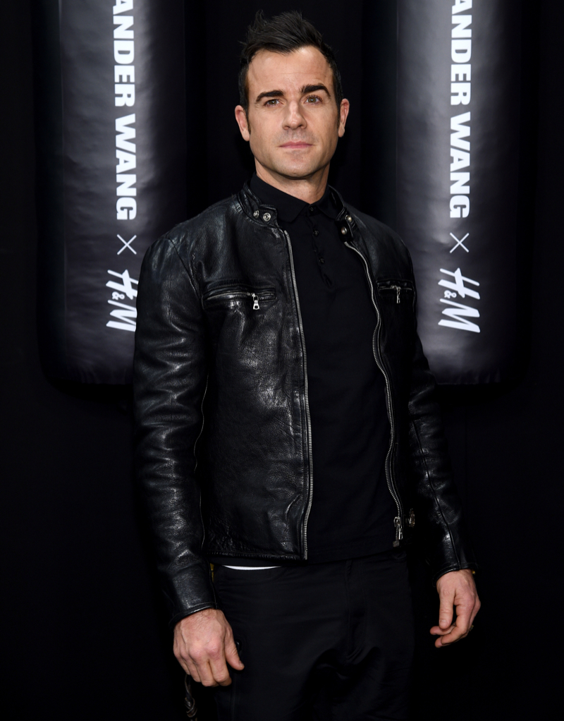 Dressed all in black, 'Leftovers' actor Justin Theroux showed his support for Alexander Wang and H&M.