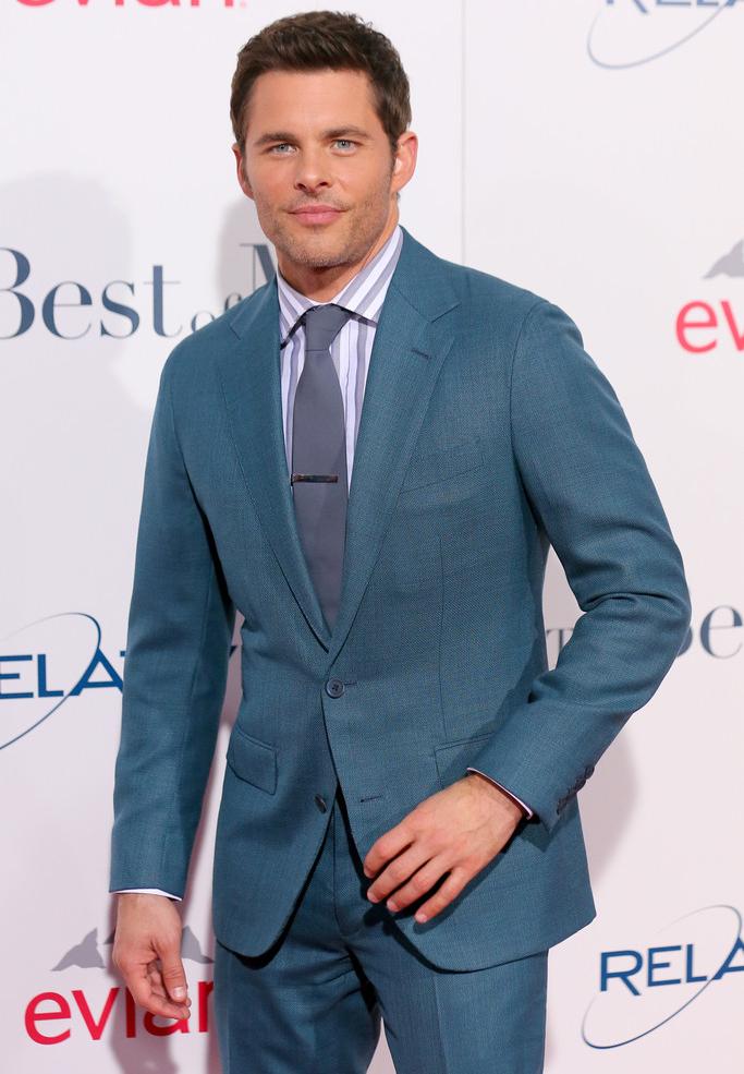James Marsden Wears Teal Thom Sweeney Suit to 'The Best of Me' Premiere