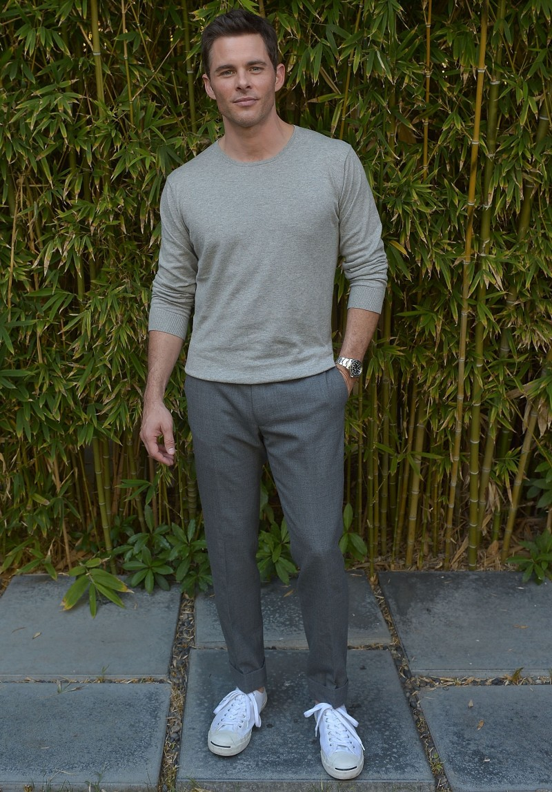 On October 24th, actor James Marsden attended a special presentation of GANT Rugger's spring-summer 2015 collection at Chateau Marmont in Los Angeles, California. For the relaxed outing, Marsden was pictured in a relaxed look from GANT Rugger, which included a gray pullover and pleated trousers.