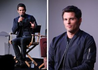 Promoting 'The Best of Me', actor James Marsden attended an event for Apple Store Soho Presents. Casual for the occasion, Marsden paired a navy bomber jacket from The Kooples with a simple t-shirt and pair of jeans.