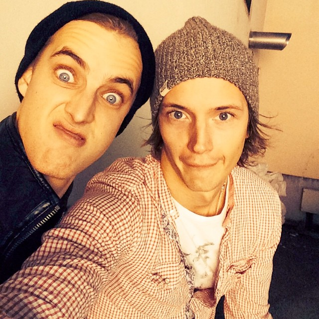 Reunited and it feels so good! Model friends James Smith and Linus Gustin pose for a selfie together.