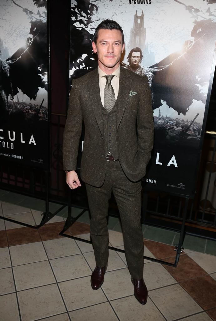 Luke Evans Wears Gieves & Hawkes to 'Dracula Untold' Premiere