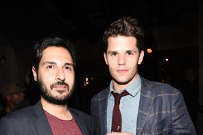 Attending GQ and Gap's celebration of 2014 Best New Menswear Designers in America at the Ace Hotel on September 29, 2014, actor Max Carver was pictured with editor Nojan Aminosharei. For the occasion, Carver paired a light wash denim shirt with brown trousers, a burgundy knit tie and a windowpane jacket.