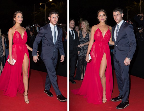 Accompanied by Olivia Culpo, Nick Jonas attended the opening red carpet party of MIPCOM 2014 in Cannes, France on October 13, 2014. For the special occasion, Jonas dressed up, wearing a dapper navy suit from Dsquared2's spring-summer 2015 collection.