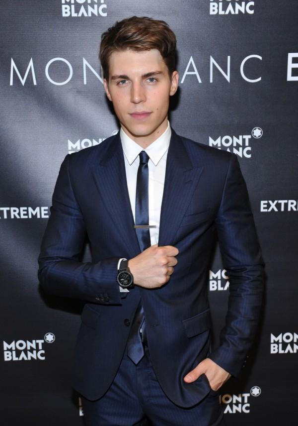 Actor Nolan Gerard Funk played host for the celebration marking Montblanc's Yorkdale boutique opening in Toronto, Canada. Dressed to impress in a dapper Versace suit, Funk accessorized with a Montblanc tie clip and one of the brand's 'Extreme' timepieces.