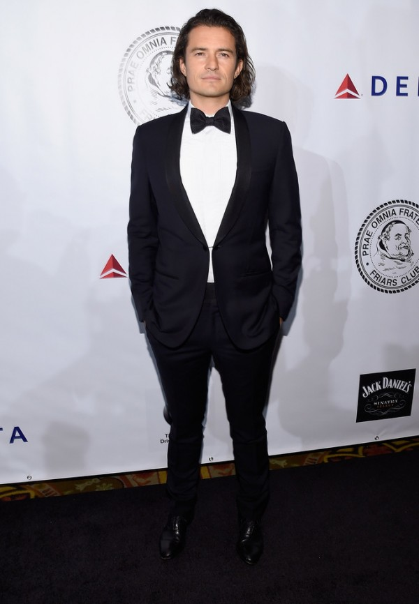 No stranger to Lanvin, actor Orlando Bloom chose a tuxedo from the French fashion house to attend the Friars Foundation Gala on October 7, 2014 in New York City. The event held at The Waldor Astoria honored Robert De Niro and Carlos Slim.