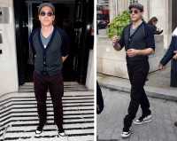 Out for a stroll in London, Robert Downey Jr. paired a casual cardigan and t-shirt with Brunello Cucinelli plum pants.