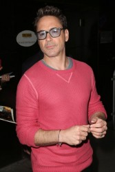 On October 8th, Robert Downey Jr. headed to ABC Studios for an appearance on 'Good Morning America', wearing a pink GANT Rugger sweater.