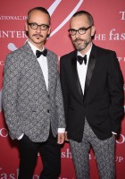 Viktor & Rolf designers Rolf Snoeren and Viktor Horsting attended the 31st annual FGI Night of Stars event on October 23rd in New York City. Wearing spectacular coordinated ensembles, the designing duo split up printed looks for winning results.