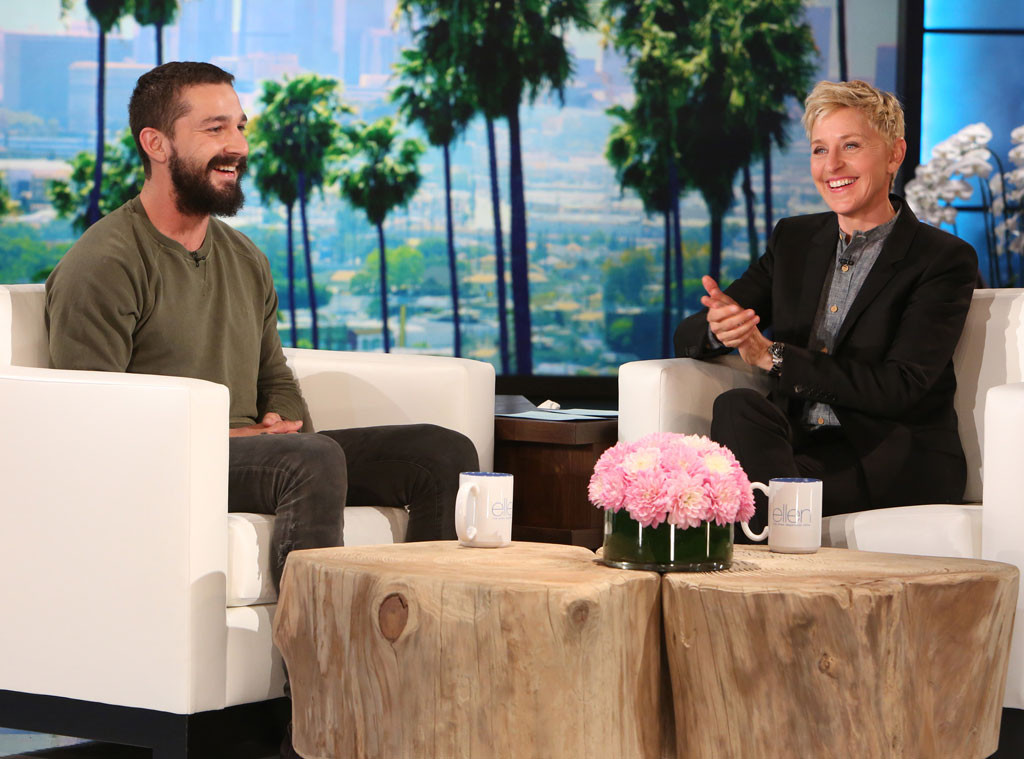 Shia LaBeouf Wears GANT Military Green Sweater for Ellen Taping