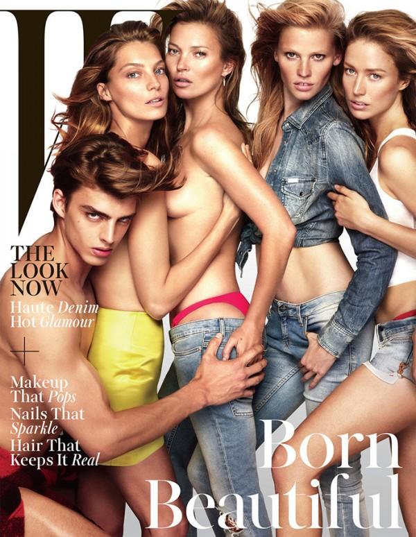 Daan van der Deen, Daria Werbowy, Kate Moss, Lara Stone and Raquel Zimmermann strike their best poses.