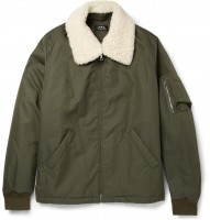 A.P.C. Shearling Collar Cotton Blend Bomber Jacket