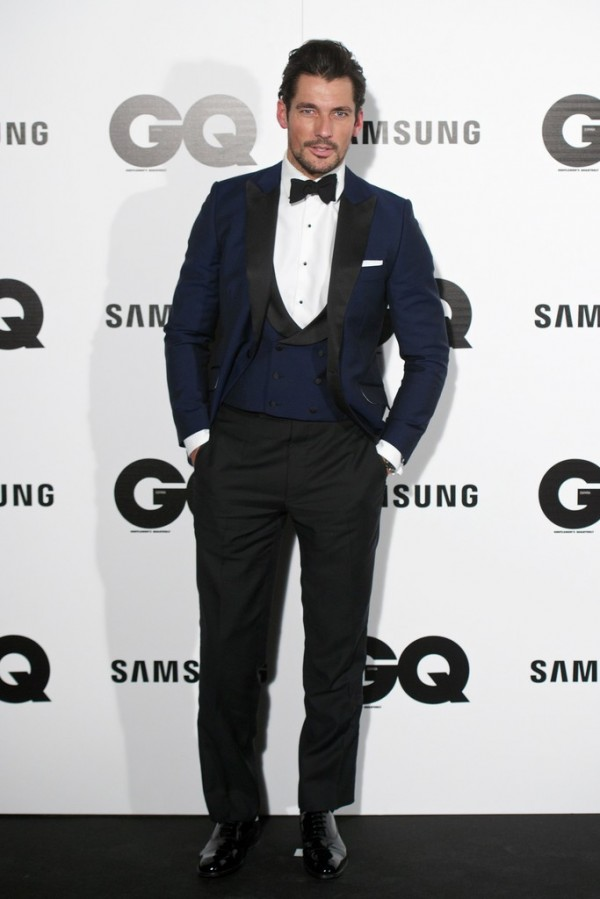 Attending the GQ 2014 Men of the Year Awards in Madrid, Spain on November 3rd, British model David Gandy was honored as 'Model of the Year'. For the occasion, he cleaned up a in dapper blue evening number from British label Duchamp.