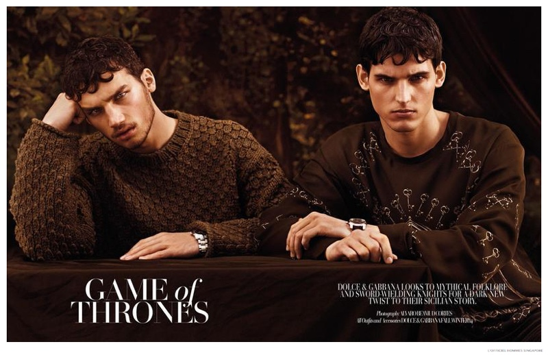 Game of Thrones: L'Officiel Hommes Singapore Highlights Dolce & Gabbana Fall 2014 Collection