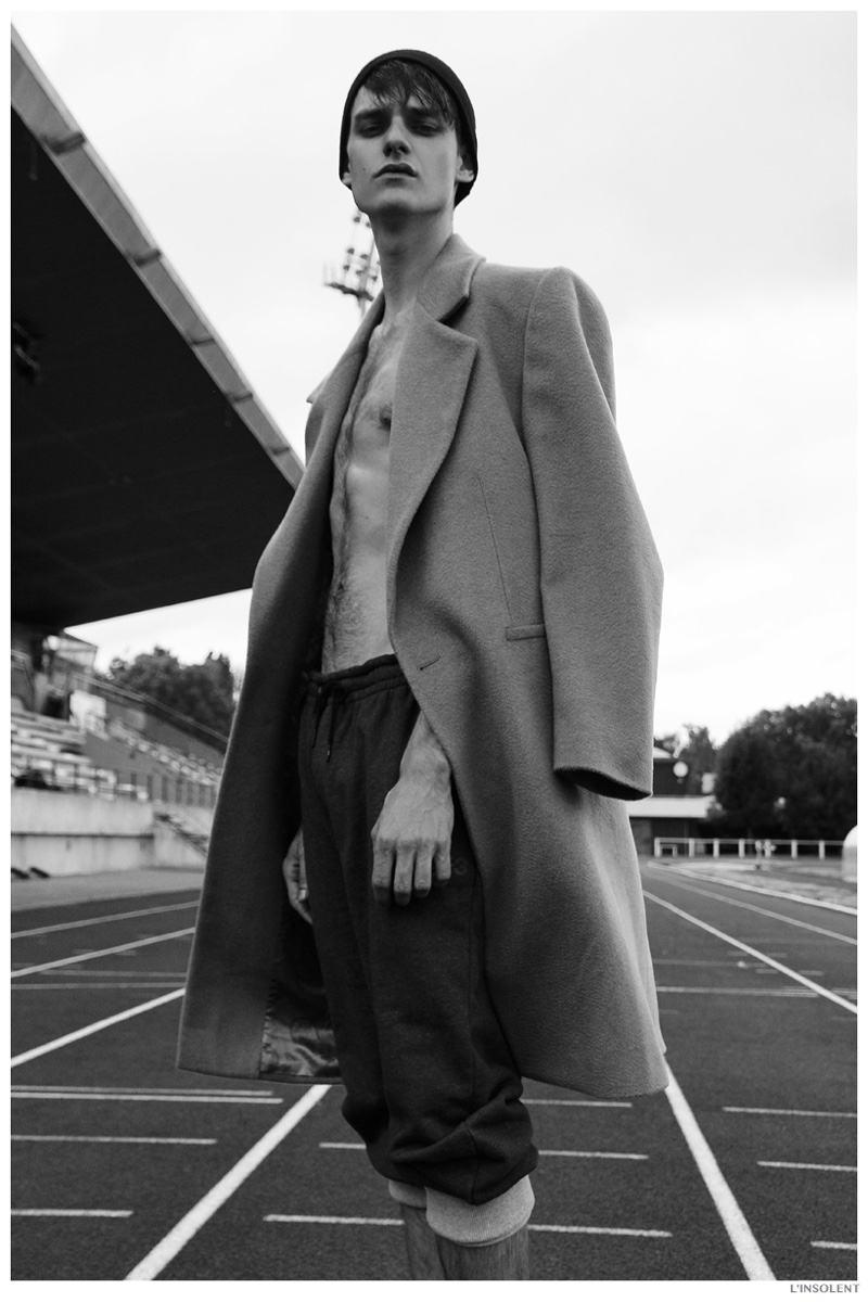 Douglas Neitzke Hits the Track in Sporty Fashions for L'Insolent