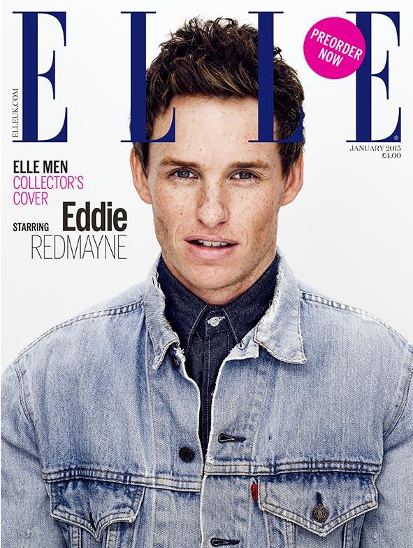 Double Down on Denim: Eddie Redmayne mixes up his denim washes with a light denim jacket worn over a dark indigo denim shirt for a cover of Elle UK.