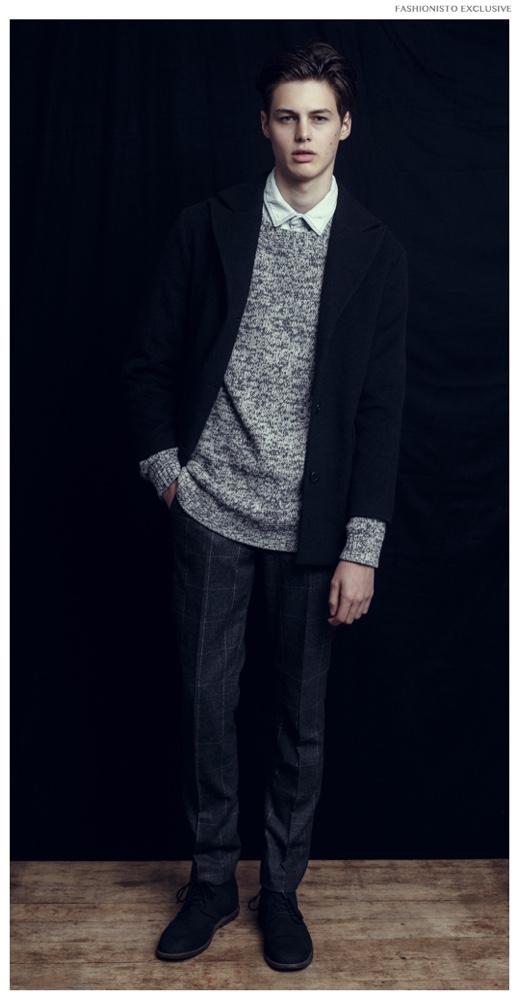Darwin wears coat Oliver Burton Paris, sweater Vince, trousers and denim shirt H&M.