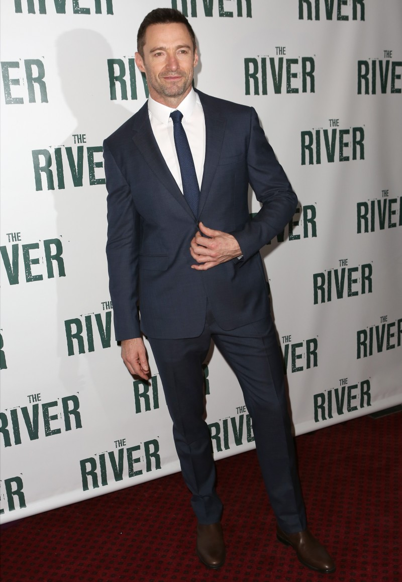 Attending the Broadway opening night of 'The River' on November 16th, Australian actor Hugh Jackman cleaned up in a classic suit from Burberry Tailoring. Keeping his lines slim, Jackman completed his trim suit with a skinny tie and crisp white shirt.