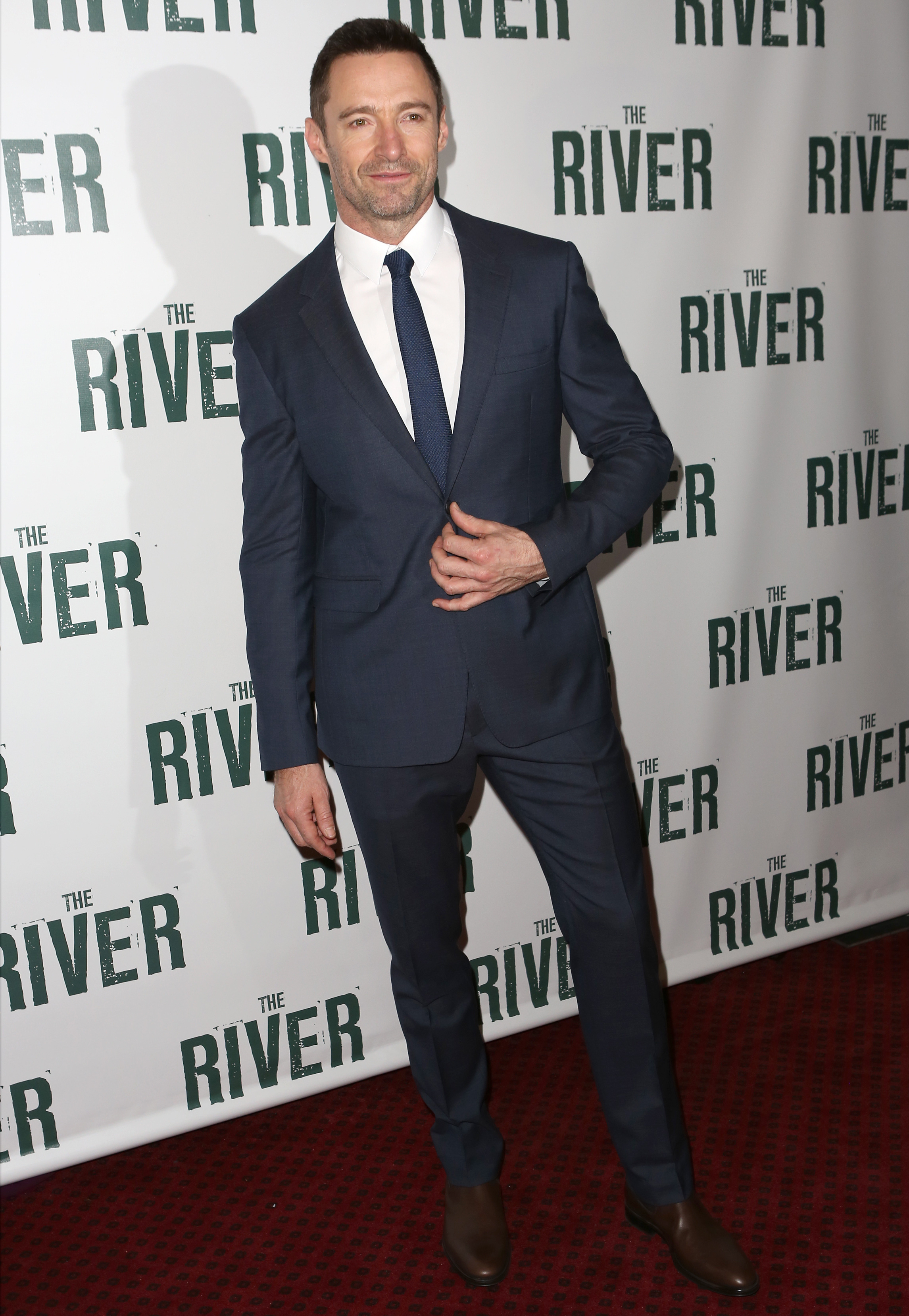 Hugh Jackman Wears Burberry Tailoring to 'The River' Opening Night