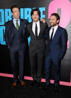 Posing with co-stars Charlie Day and Jason Sudeikis at the November 20th Hollywood premiere of 'Horrible Bosses 2', actor Jason Bateman stood out in a black wool, two-button notch lapel suit with silver silk stripes from French fashion label Dior Homme.