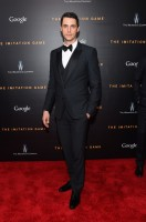 Attending the November 17th premiere of 'The Imitation Game' in New York City, actor Matthew Goode was a dapper vision in a slim-cut, three-pikece black tuxedo from Italian fashion brand Dolce & Gabbana.