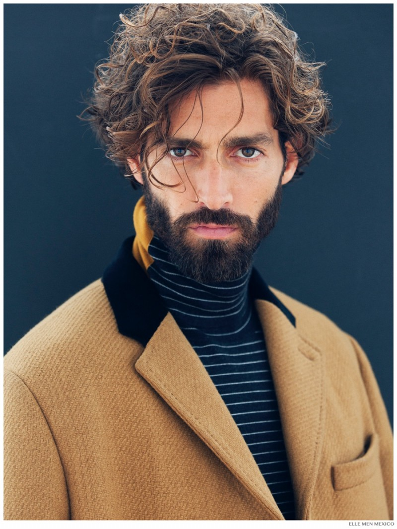 Short and wavy, Maximiliano Patane impresses with a chic do in a fashion spread for Elle Man Mexico, shot by Paul Morel.