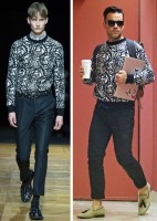 Robbie Williams Spotted in Dior Homme Black & White Print Sweater Robbie Williams was spotted out and about earlier this month after the birth of his second child on October 27th. The 40 year-old 'Go Gentle' singer took it easy in a black & white print Dior Homme sweater from the label's fall-winter 2014 collection. Williams completed the ensemble with black denim jeans and tasseled loafers.