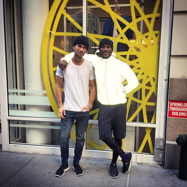 Tobias Sorensen and Tyson Beckford pose after a Soul Cycle session.