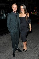 Joined by Jade Olivia, actor Tom Felton attended the unveiling of Claridge's Christmas Tree. For the festive occasion, Felton cleaned up in a three-piece, slim-cut, tailored suit from Italian label Dolce & Gabbana.