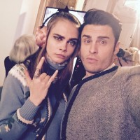 Baptiste Giabiconi poses for a selfie with Cara Delevingne at the Chanel show this week