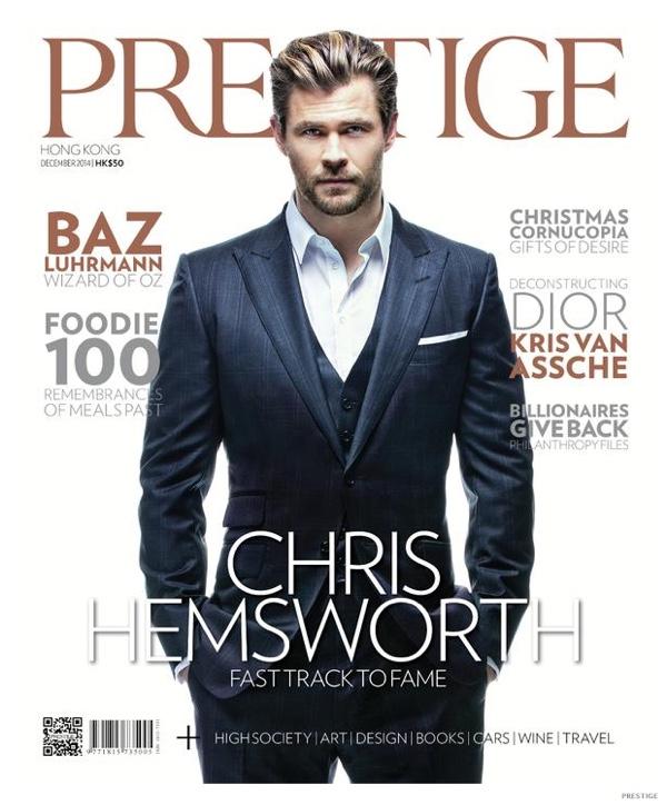 Chris Hemsworth Suits Up for Dapper Prestige December 2014 Cover Photo Shoot