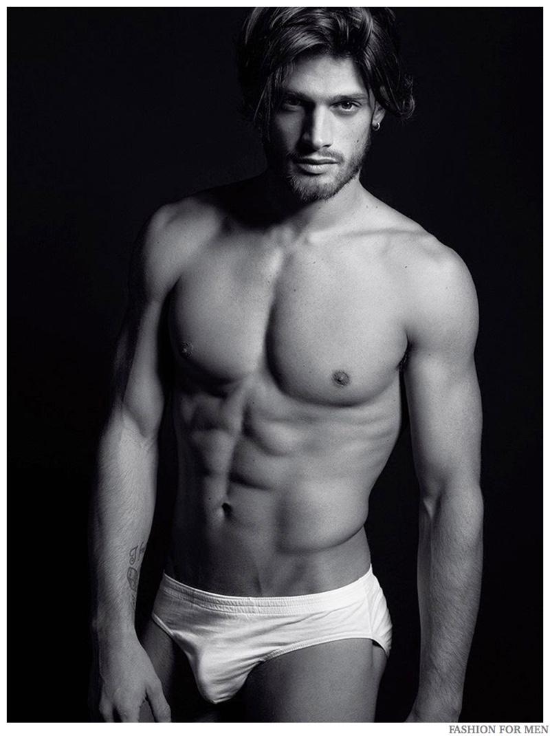 Svart Naken Mann Modell