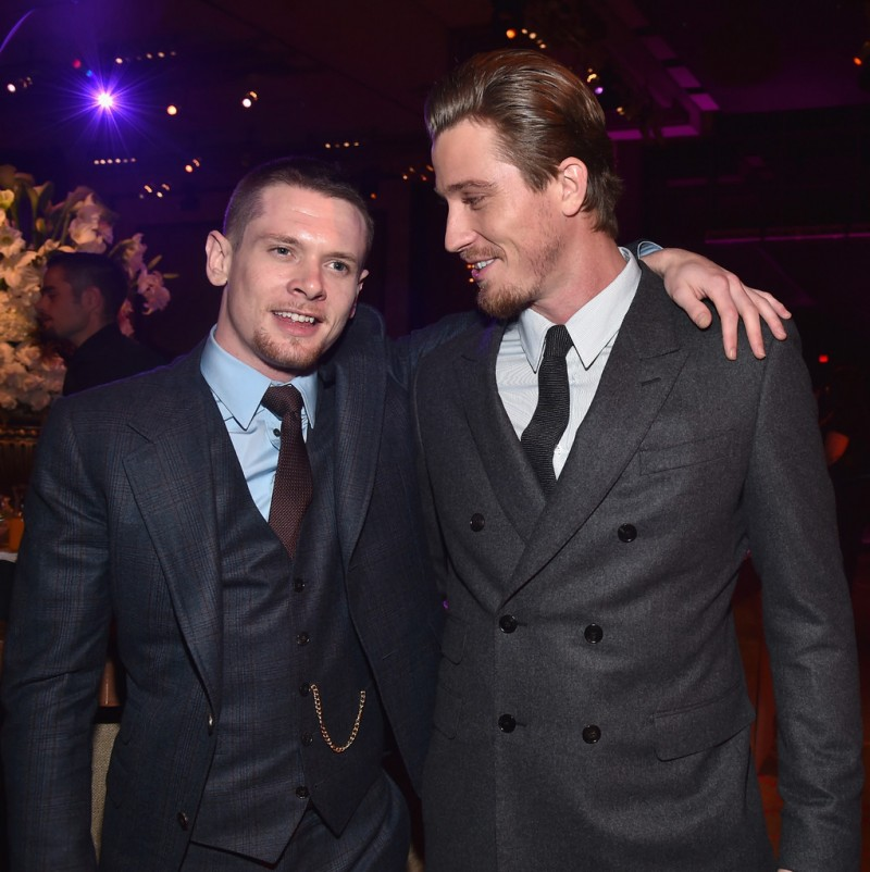 Actors Jack O'Connell and Garrett Hedlund pose for a photo together