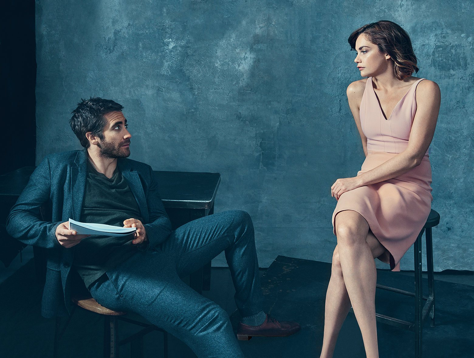 Promoting his stint on broadway in Constellations, actor Jake Gyllenhaal joins Ruth Wilson for a photo in the January 2015 issue of Vogue. Photographed by Norman Jean Roy, Gyllenhaal is pictured in a GAP t-shirt, paired with a Rag & Bone suit.