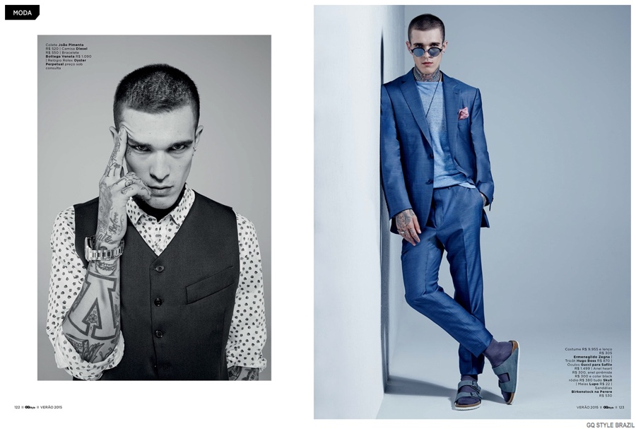 Jimmy Quaintance Lends Suits a Tattooed Edge for GQ Style Brasil