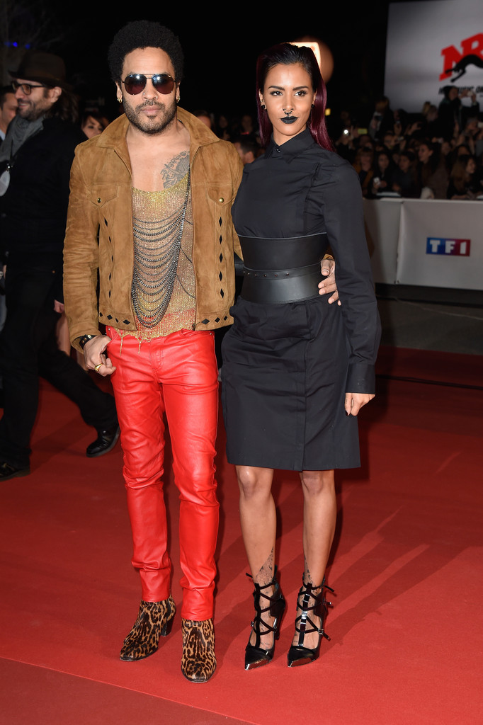 Lenny Kravitz Wears Saint Laurent Brown Suede Jacket To