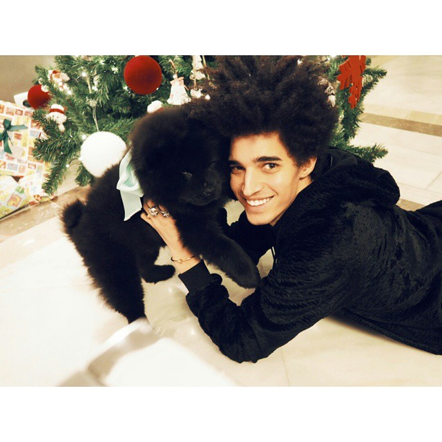 Luis Borges shares his Christmas treat, his new pup named Saint Laurent