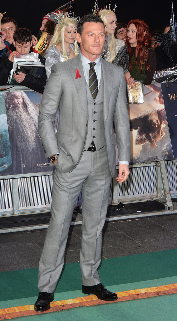 Luke Evans Wears Gieves & Hawkes to 'The Hobbit: The Battle of the Five Armies' World Premiere