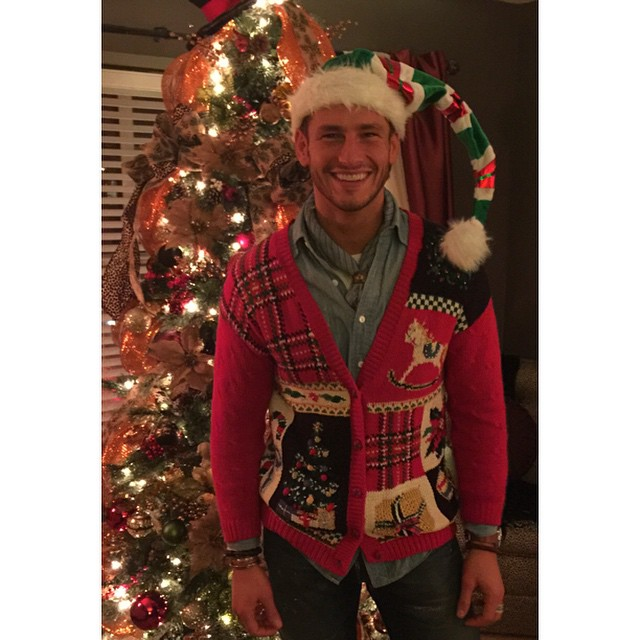 Parker Gregory is geek chic in his festive holiday sweater