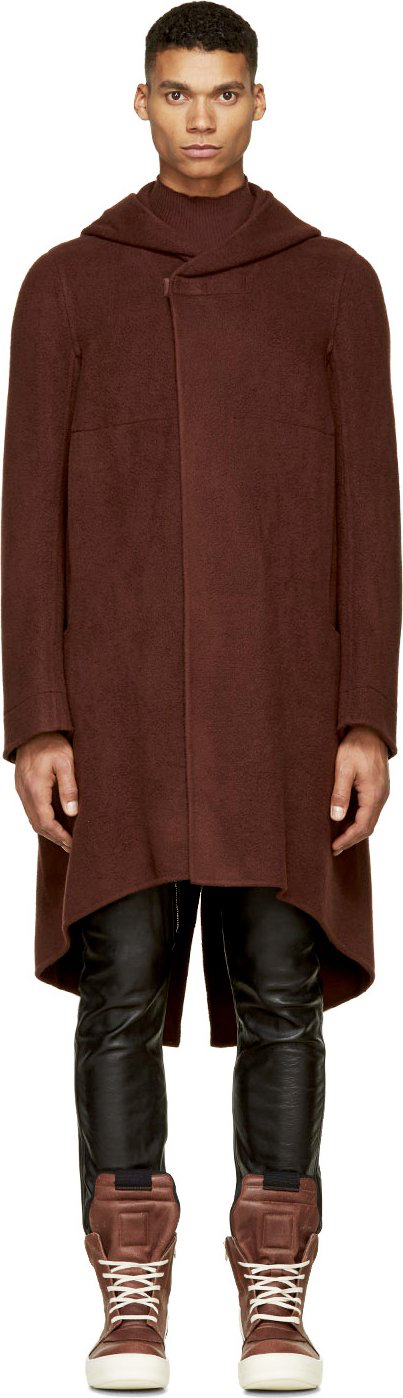 On Sale: Rick Owens Burgundy Cashmere Hooded Coat