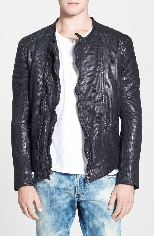 Scotch & Soda perforated leather biker jacket