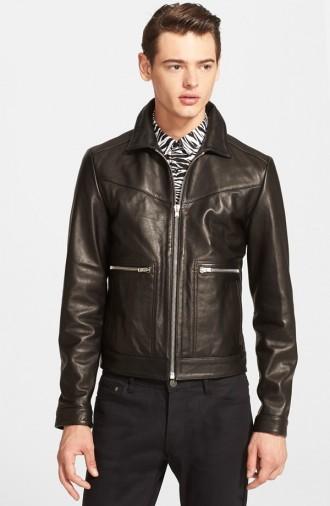 Jacob Morton wears The Kooples trim fit leather short jacket